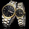 Hombre y Mujeres Amantes de Cuarzo Reloj de Moda de Acero resistente a Los Arañazos Impermeable de Los Hombres de Doble calendario Relojes casuales F690-2