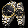 Man&Women Lovers Quartz Steel  Fashion Watch Waterproof Scratch-resistant Men Double calendar casual Wristwatches F690-2