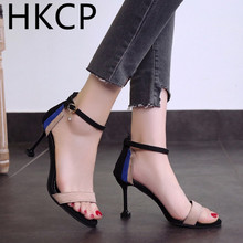 HKCP New 2019 all-in-one strap sandals black heels scrub peep-toe womens summer shoes C005