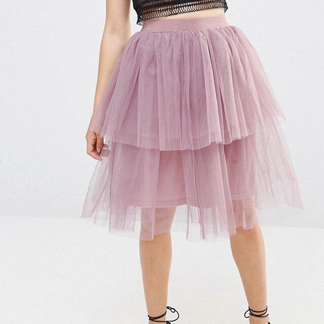 c3d5af1d6 2 con gradas de longitud de rodilla tulle falda 2017 otoño alta calidad  Tutu puffy falda cremallera cintura falda color tamaño libre en Faldas de  ...