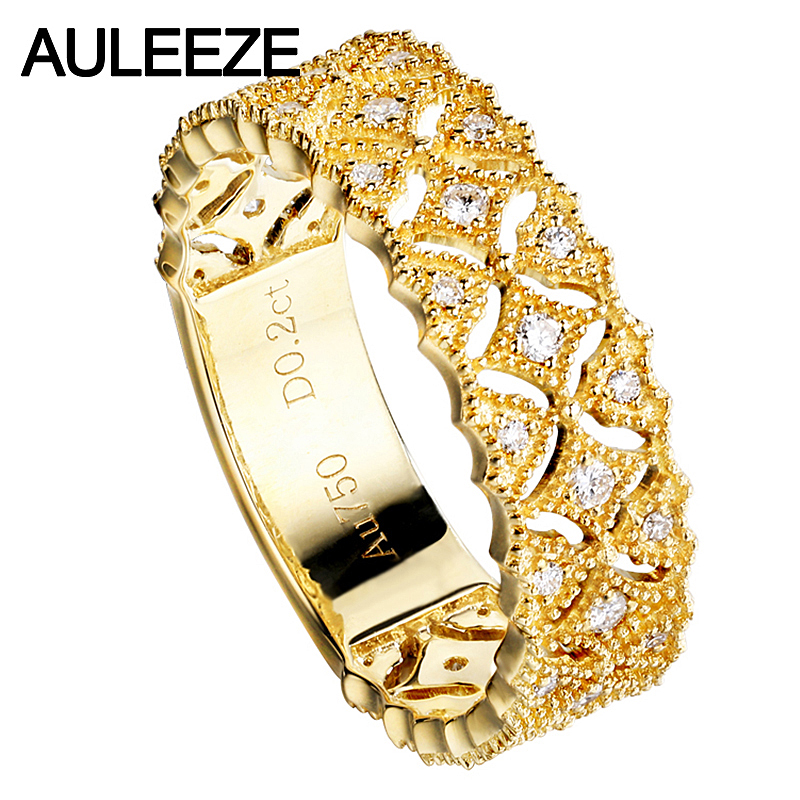 AULEEZE Genuine Real 18k Yellow Gold Bands 0 20cttw Natural Diamond Wedding Rings For Women Star