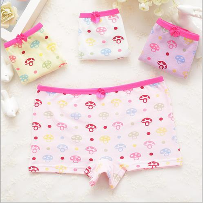 5Pc/lot The New Small Mushroom Cartoon Cotton Boxer Children Underwear Cotton Baby Girls Underwear TNN2307