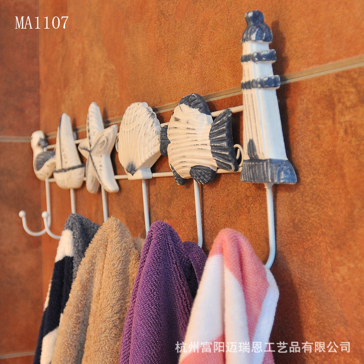 Mediterranean Style Hook Clothes Rack Cloth Hook Wall Hook Robe Hook for Bathroom Acces Home Decoration Accessories