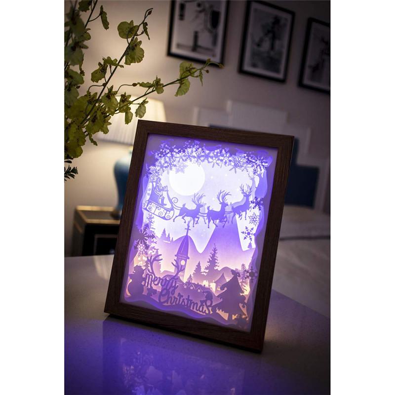 3D Paper Sculpture Light USB Night Light Lamp of Creative DIY Handmade Papercut Paper Carving Light Lamp for Christmas Bedroom
