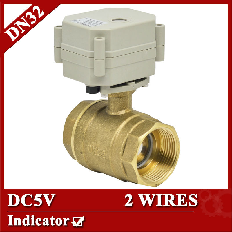 1 1/4'' 2 way brass electric ball valve, DC5V motorized ball valve, 2 control wires for HVAC air conditional fan coil 1 2 thread to hose tail 1 4 air control ball valve zmm