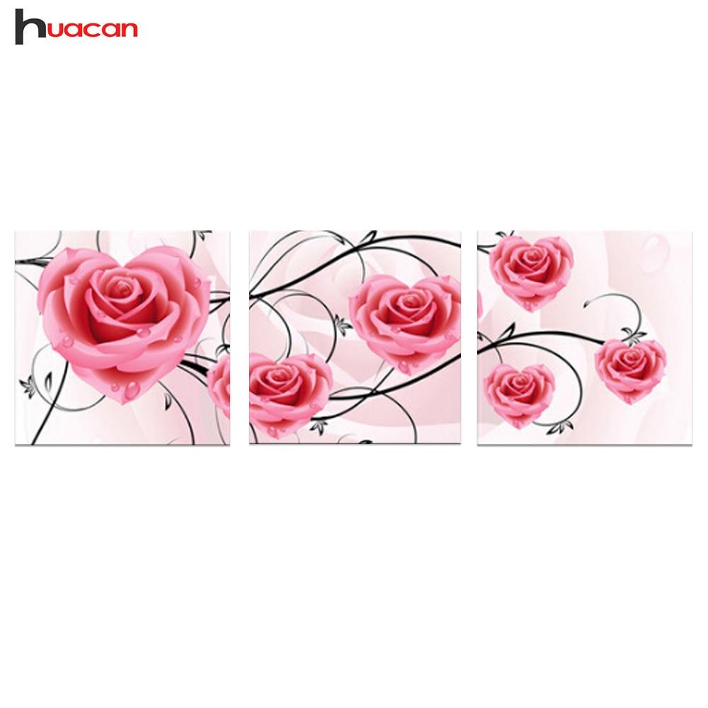 HUACAN diamante del bordado de flores pintura al óleo Rosa Patrón ...