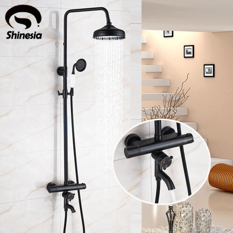 Oil Rubbed Bronze Thermostatic Shower Faucet Sets 8 Inch Shower Head with Hand Sprayer