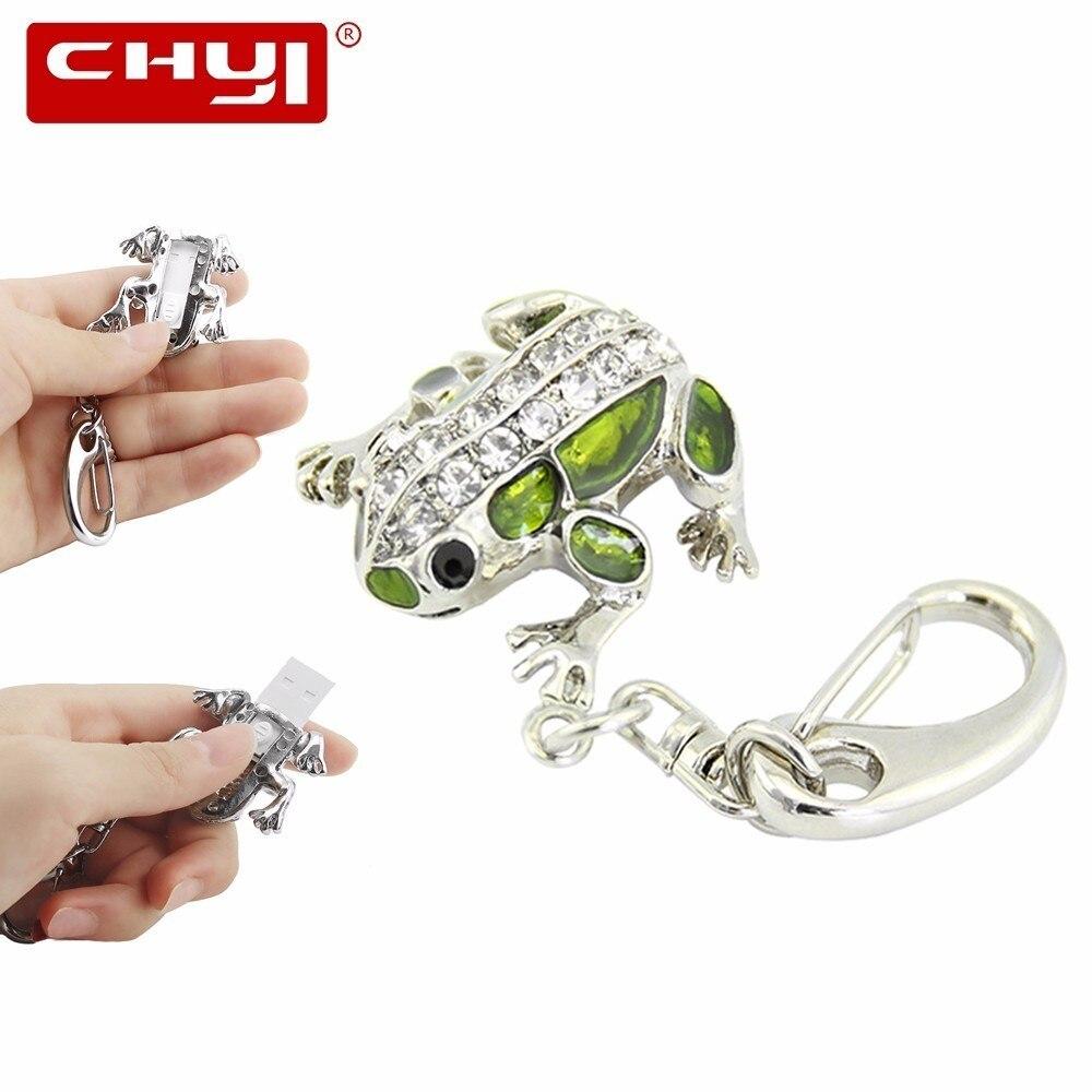 CHYI Прохладный животных USB флешка накопитель лягушка брелок в форме Memory Stick 4ГБ 8ГБ 16ГБ 32ГБ 64ГБ флешки и диск для подарка