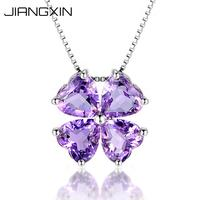 JiangXin Women's Natural Purple Heart Shaped Amethyst Pendant Necklace Saint Patrick's Day Lucky Four Leaf Clover Fine Jewelry