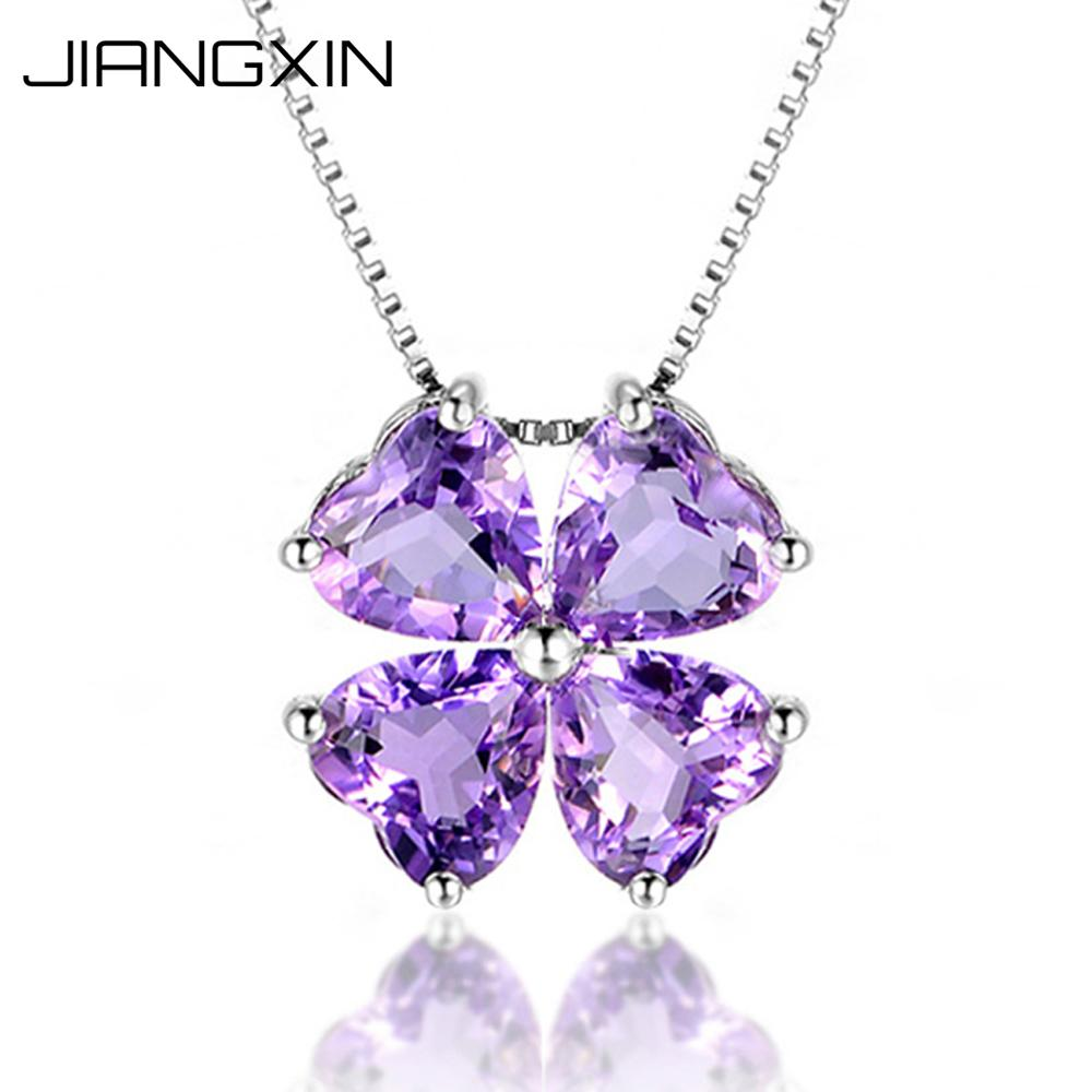 Womens Natural Purple Heart Shaped Amethyst Pendant Necklace Saint Patricks Day Lucky Four Leaf Clover Fine JewelryWomens Natural Purple Heart Shaped Amethyst Pendant Necklace Saint Patricks Day Lucky Four Leaf Clover Fine Jewelry