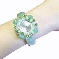 New jade bracelet watch necklace earrings set with three diamonds ladies jewelry watch women' watch ladies watches