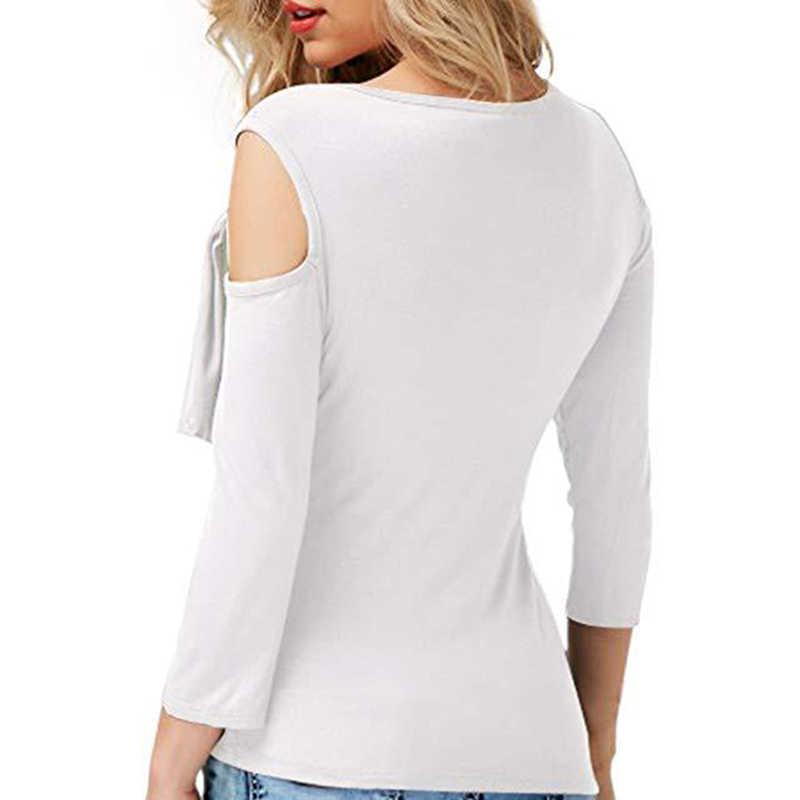 ไม่สมมาตรถักเสื้อยืดผู้หญิงแฟชั่น Off ไหล่ขายสีสูง Qualiy เสื้อยืด Slim Oblique คอหญิง Top
