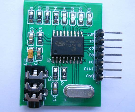 Free Shipping! DTMF voice dialing control audio decoding module MT8870 with audio cable