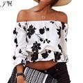 Ombro Off moda Sexy Top curto impresso cortar Tops mulheres 2015