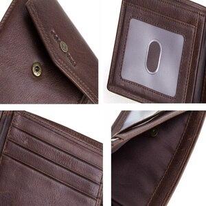 Image 5 - CONTACTS skóra Crazy Horse portfel męski z kieszonką na monety Hasp portfel poziomy Vintage portfel męski