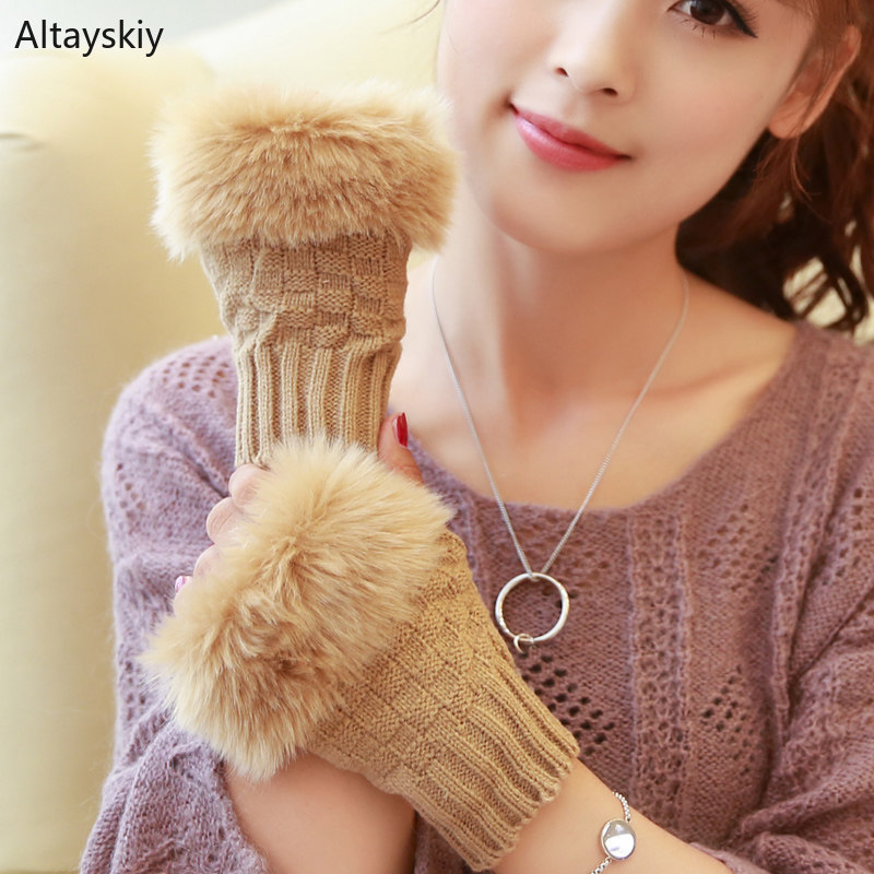 Arm Warmers Women Solid Knitting Patchwork Faux Rabbit Fur Elegant  Womens Mitts Half-fingered Kawaii Korean Style Cute 2019 New