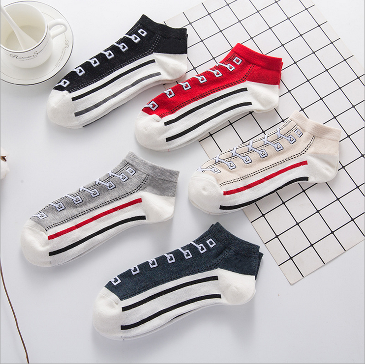 2019 New Comfortable Cotton Sock Slippers Socks Fashion Simulation Printed Ankle Socks