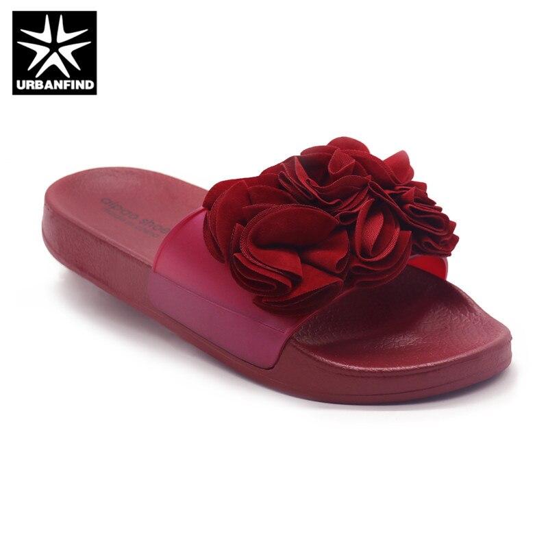 Украшенные цветами модные женские туфли тапочки 4 цвета прекрасные шлепанцы Для женщин летние сандалии Одежда для дома, пляжа обувь размеры...