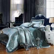 Luxury Silk Bedding Set Embroidery Bed Linens Tencel Satin Bed Sheet Set Jacquard Bedclothes Queen/King Size Bed cover 4/6pcs(China)