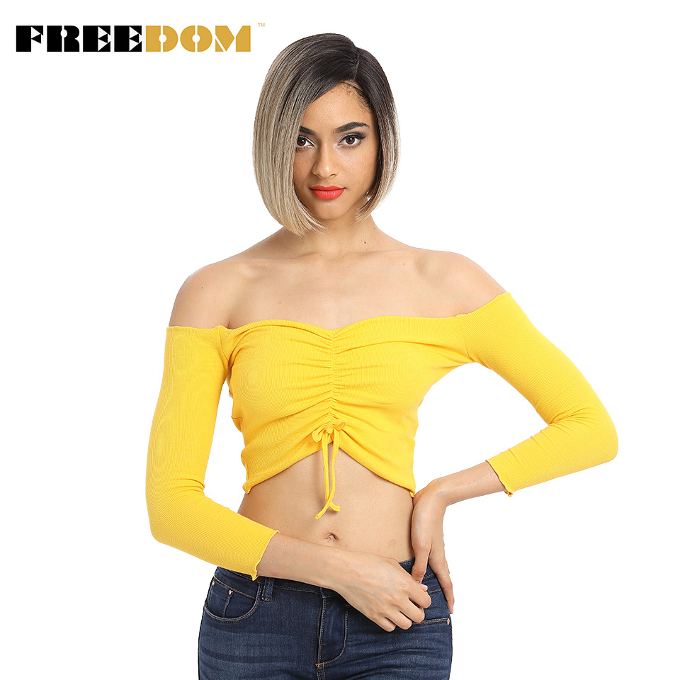 FREEDOM Colorful Short Straight Wigs For Black Women Ombre Dark Roots Brown Synthetic Lace Front Wig Natural Hair Wigs Glueless