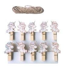 10pcs/lot Cute cartoon Mini Clip With Hemp Rope for Photo Cartoon Paper DIY School Office Supplies(China)