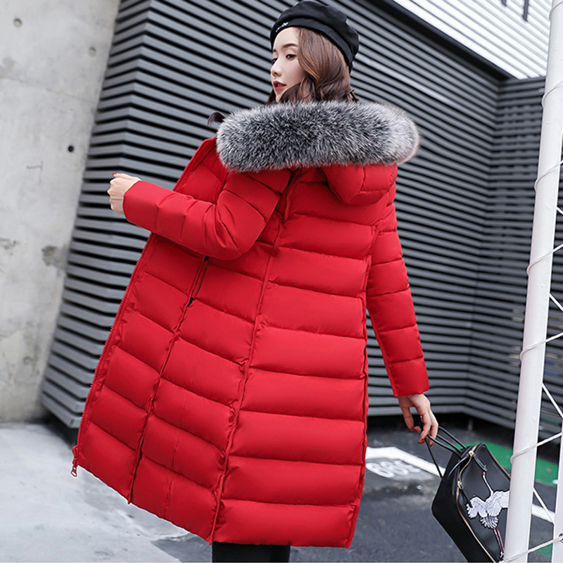 Plus size Women Down Cotton Jackets 2018 New Big Fur collar Winter Hooded Thick Warm Overcoat Female Long Coats   Parkas   LJ0536