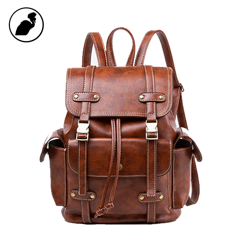 ETONWEAG Brands Cow Leather Schoolbag Backpack Brown Vintage School Bags For Women 2017 Small Lady Travel