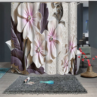Beautiful Luxury Bathroom Waterproof Fabric 3D Shower Curtains