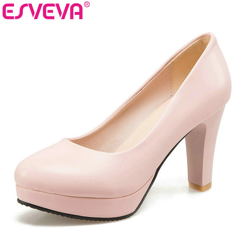 ESVEVA 2017 Platform Women Pumps White Spring Autumn Women Shoes Square High Heel Wedding Shoes OL Work Shoes Big Size 34-43 esveva 2017 thin high heel women pumps platform white peep toe wedding shoes sexy ol white ankle strap summer shoes size 34 43