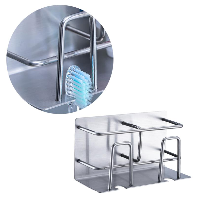 Image 5 - Self Adhesive Toothbrush Bathroom Organizer Stainless Steel Storage Rack Wall Mounted Toothbrush Holder Bathroom Accessories-in Toothbrush & Toothpaste Holders from Home & Garden
