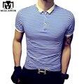 Большой размер 5XL высокое качество свободного покроя рубашки поло хлопка полосатой поло Homme летом с коротким рукавом Camisa поло уменьшают подходящие MT532