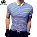 Más el tamaño 5XL alta calidad Casual hombres Polo Camisa Polo a rayas de algodón Homme verano manga corta Camisa de Polo Slim Fit Tee MT532
