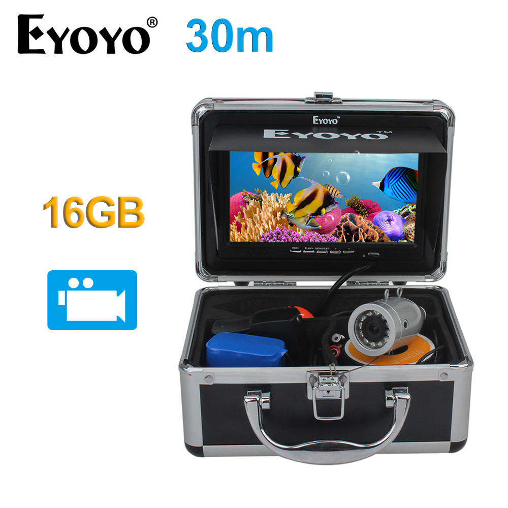 EYOYO White LED Video Recording DVR 7 Full Silver Fish Finder HD 1000TVL 30M Underwater Fishing Camera 16GB Fish Cam цена