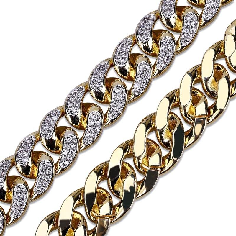 MISSFOX HÜFTE Hop Jewelers 18mm USA Männer Iced Out 24K Gold Überzogene Ton Künstliche CZ Miami Kubanischen Link kette Choker Halskette 18 22 - 3