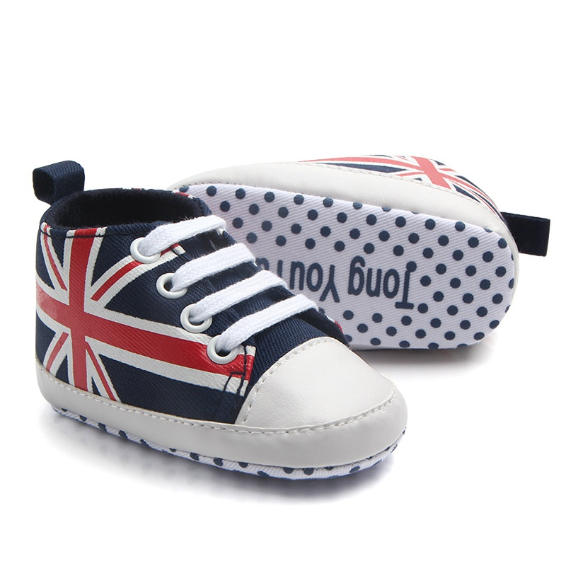 Baby Boy Shoes Flag Lace Canvas Shoes Toddler Rope Soled First Walkers Union Jack Pattern Baby Shoes