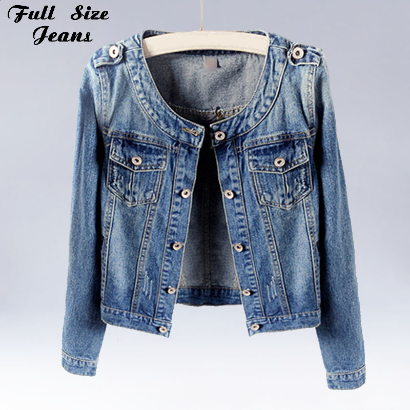 Plus Size Round Collar Jeans Jacket 4XL 5XL Sweet Ws