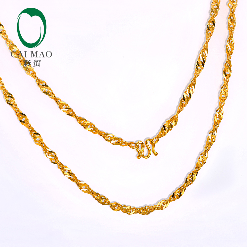 CAIMAO 24K Pure 999 Gold Twisted Rope Womens Necklaces Fine Engagement Exquisite Romantic Gift Trendy 43cm Length