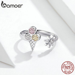 Image 5 - bamoer 4 pcs Ice Cream Jewelry Sets for Women Summer Collection 925 Sterling Silver Earrings Finger Rings and Necklace ZHS117