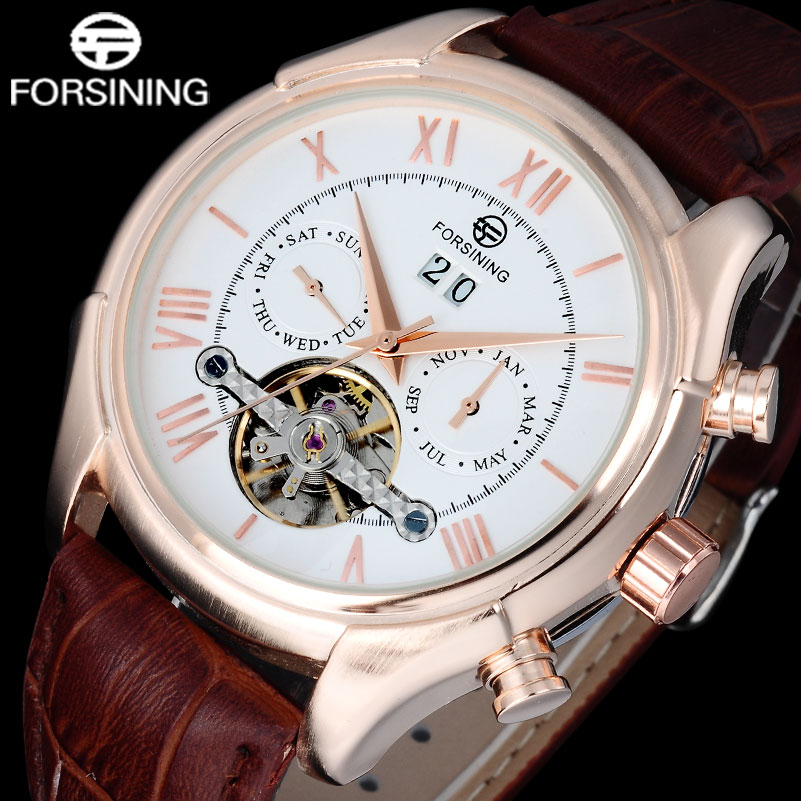 FORSINING Men Watches 2017 Luxury Brand Date Week Month Display Auto Mechanical Rose Gold Roman Numerals Display Wristwatches forsining tourbillon designer month day date display men watch luxury brand automatic men big face watches gold watch men clock