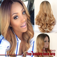 Ombre Wigs Lace Front Wigs Blonde Color Wig Black Root Heat Resitant Fiber Hair Synthetic Lace Front Wig For Women
