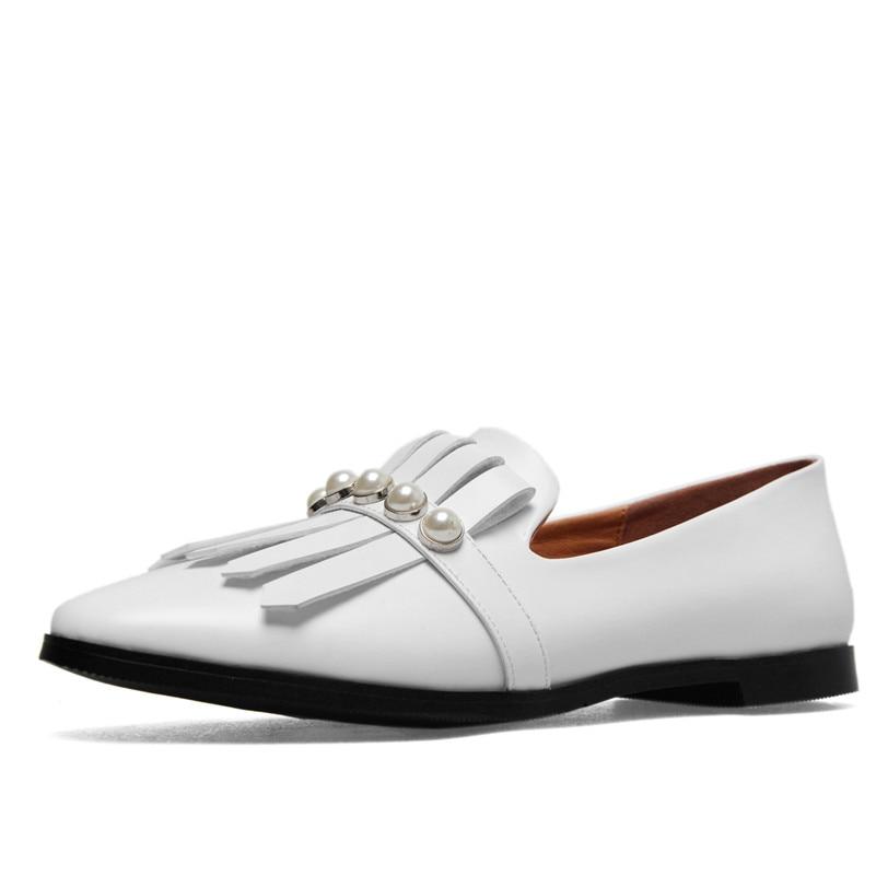 Appartements Automne Femme Bout Conasco Verni Chaussures blanc Conception Noir Rond Décoration Marque De 1new Perle Printemps Qualité Fringe Femmes Base En Cuir vwmN08n
