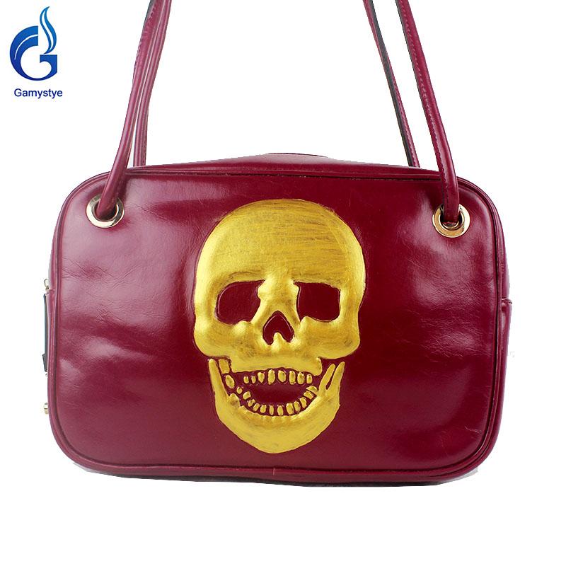ФОТО 2016 Women Shoulder Bag Gold skull 100% real genuine leather bags punk style bags Ladies bag Brand Designer music totes gifts