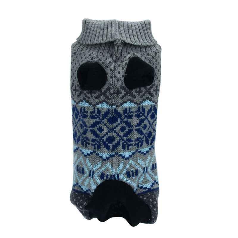 Свитер с высоким воротником милый теплый клетчатый собака мелких пород трикотаж открытый Кот пальто свитер очаровательных цветов Топ свитер