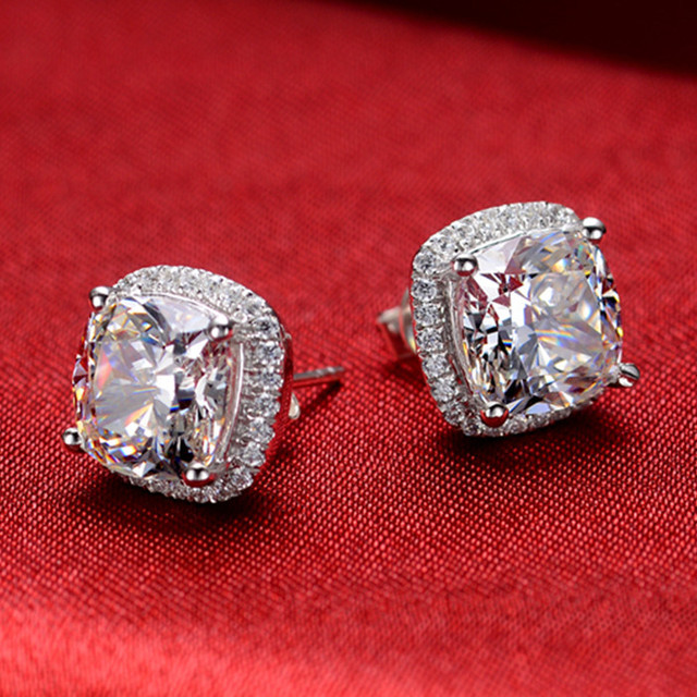 Threeman Excellent Design 2ct Piece Cushion Solid White Gold Earrings Synthetic Diamonds Stud For