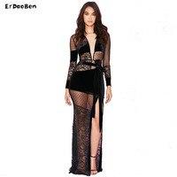 ERDAOBEN Vrouwen Zwart V-hals Sexy meshLace Prom Avondjurken Lace Lange Jurk H0302
