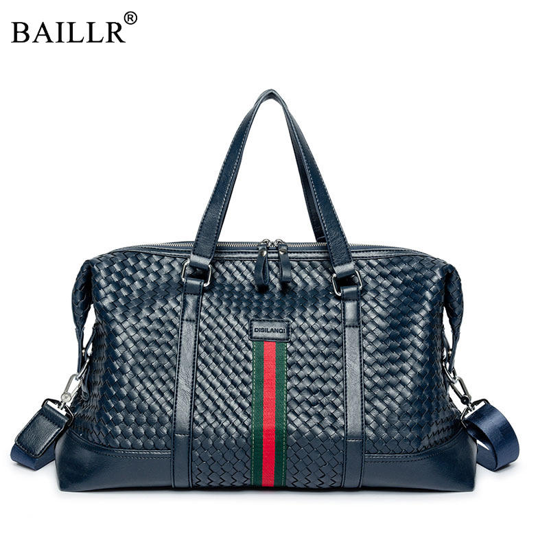 Popular Design Preppy Style PU Leather Weekend Duffel Bag Portable Highcapacity Mens Leisure Business Travel Bag Black Handbag