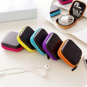 Image 3 - البسيطة زيبر الصلب سماعة حالة بو الجلود سماعة حقيبة التخزين واقية USB منظم الكابلات المحمولة سماعات الأذن مربع حقيبة