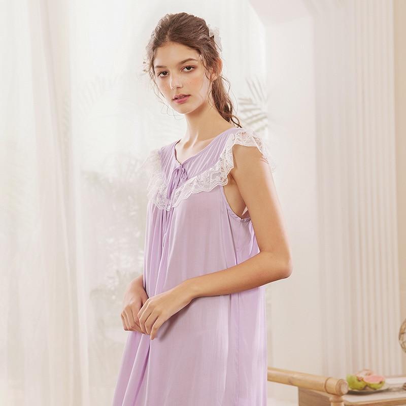 Roseheart Women Fashion Cotton Purple Sexy Sleepwear Nightdress Lace Bow Nightwear Sleepshirts Luxury Nightgown Female Gown in Nightgowns Sleepshirts from Underwear Sleepwears