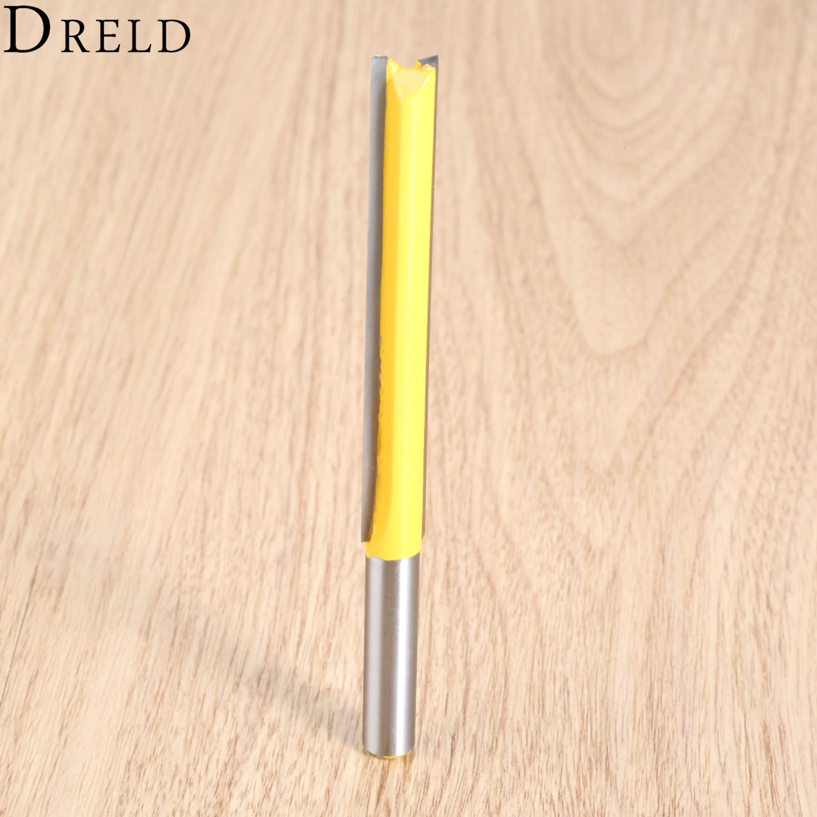 DRELD 1pc Woodworking Capenter Tools 8mm Shank Extra Long Straight Router Flush Trim Bearing Router Bit Wood Milling Cutter Tool