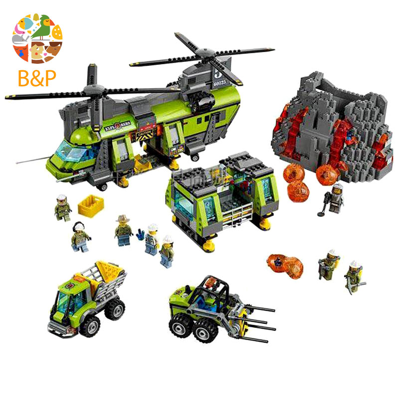 lepin Legoing 60125 1430pcs City Police series The Volcano Heavy-Lift Helicopter Building Block Toy For Children Gift 02087 hot city volcano heavy lift helicopter building block transporter truck forklift expedition figures bricks 60125 toys for gifts